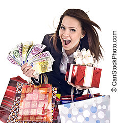 Business woman with money, gift, box, bag.
