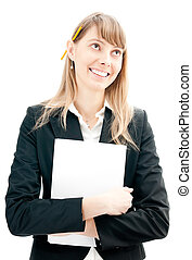 business woman with pencil and paper