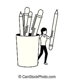 business woman with pencil and supplies