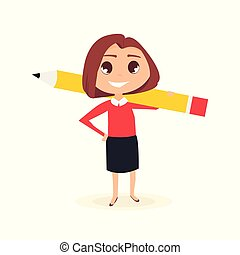Business woman with pencil.