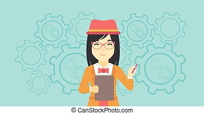 Business woman with pencil vector illustration.