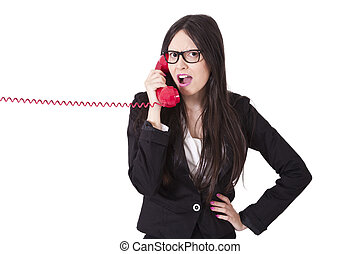 business woman with phone cord