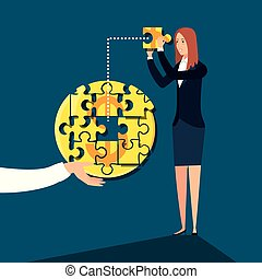 business woman with puzzle pieces in shape circle