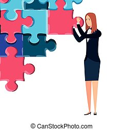 business woman with puzzle pieces