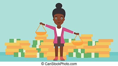 Business woman with scales vector illustration.