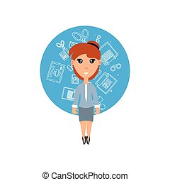 business woman with set icons office