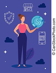 business woman with set icons