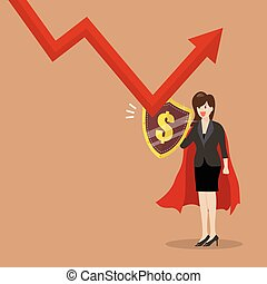 Business woman with shield protecting from graph down