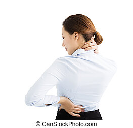 business Woman with shoulder and neck pain