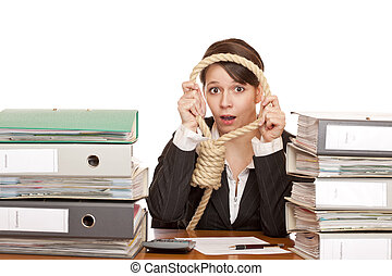 Business woman with sling. - Woman in office is desperated...