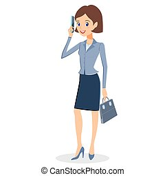 Business woman with smartphone character vector