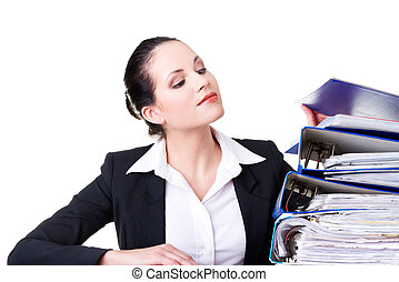 Business woman with stack of binders.