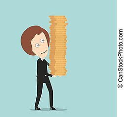 Business woman with stack of coins in hands