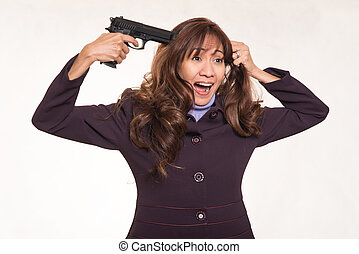 Business woman  with suicidal intent