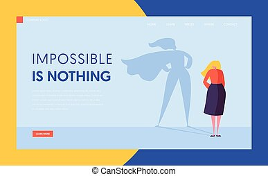 Business Woman with Super Hero Cloak Shadow Silhouette. Female Character Businesswoman Leadership Motivation Concept, Superhero. Website Landing Page, Web Page Cartoon Flat Vector Illustration, Banner