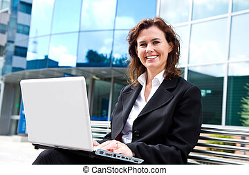 business woman with tablet computer