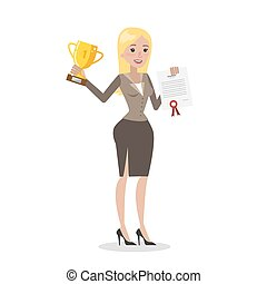 Business woman with trophy.