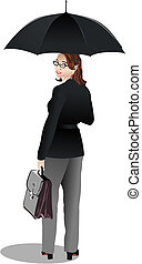 Business woman with umbrella. Vector illustration