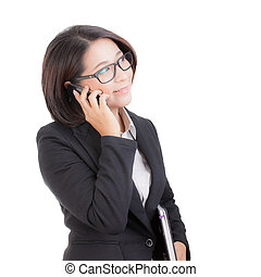 business woman with using mobile phone