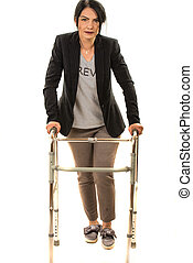 Business woman with walking frame