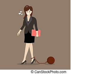 Business woman with weight burden