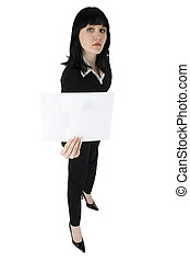 Business Woman with White Sign