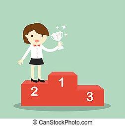Business woman won 2nd.