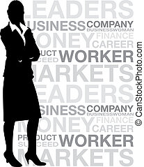 business woman word background