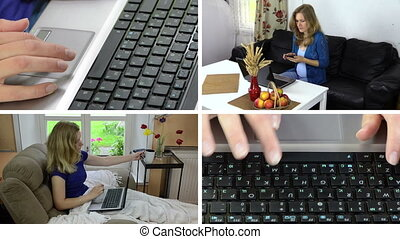 Business woman work with laptop at home. Clips collage.