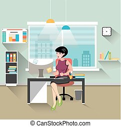 Business woman working at her office desk. Flat style modern...