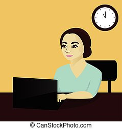 Business woman working at laptop in office