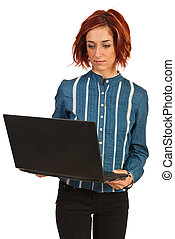 Business woman working by laptop