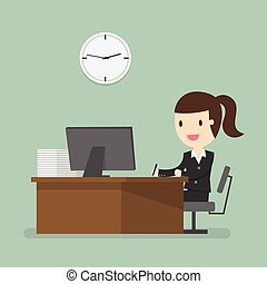 working - Business woman working in office hour