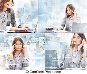 Business woman working in office over the modern abstract background