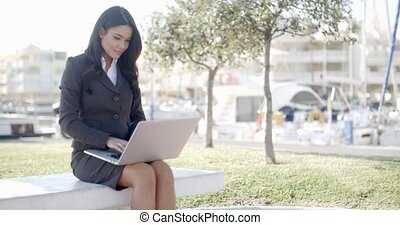 Business Woman Working In The Park