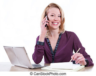 Business woman working laptop - isolated