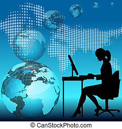 business woman working on computer - business woman working...