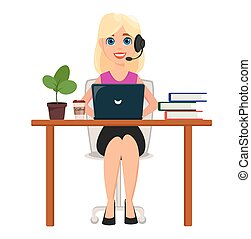 Business woman working on laptop at her office desk. Pretty cartoon character with headset.