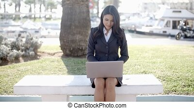Business Woman Working On Laptop Outdoor