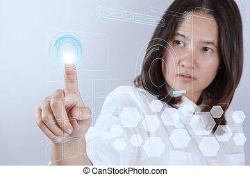 woman working on modern technology