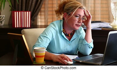 Business Woman Working - Tired Middle Age Blonde Business...