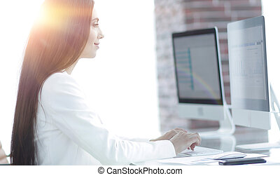 business woman working with financial documents