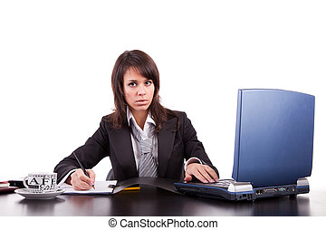 Business woman working with laptop