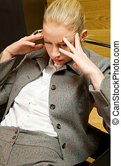 business woman worried
