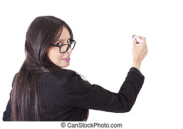 Business woman writing back