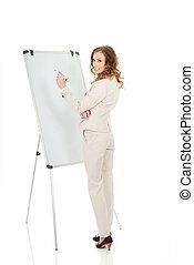 Business woman writing on flipchart.