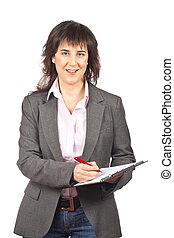 Business woman writing