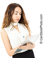 Business woman writing report