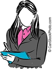 business woman writting note illustration