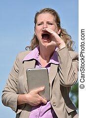 Business Woman Yelling